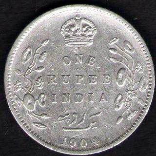British India - 1904 - Edward Vii One Rupee Silver X - Fine Coin Ex - Rare Date photo