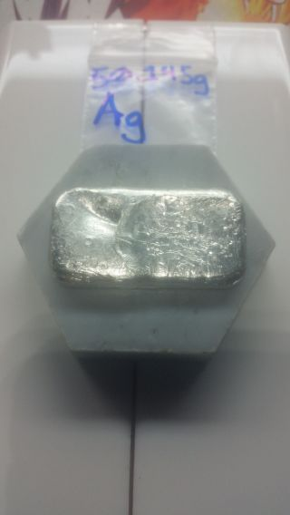 1.  621t Oz Hand Poured Silver Bar - 50.  145g - More Than 98 Pure Silver Guaranteed photo
