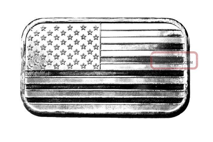 1 Oz Silver Bar American Flag Design One Ounce Silver