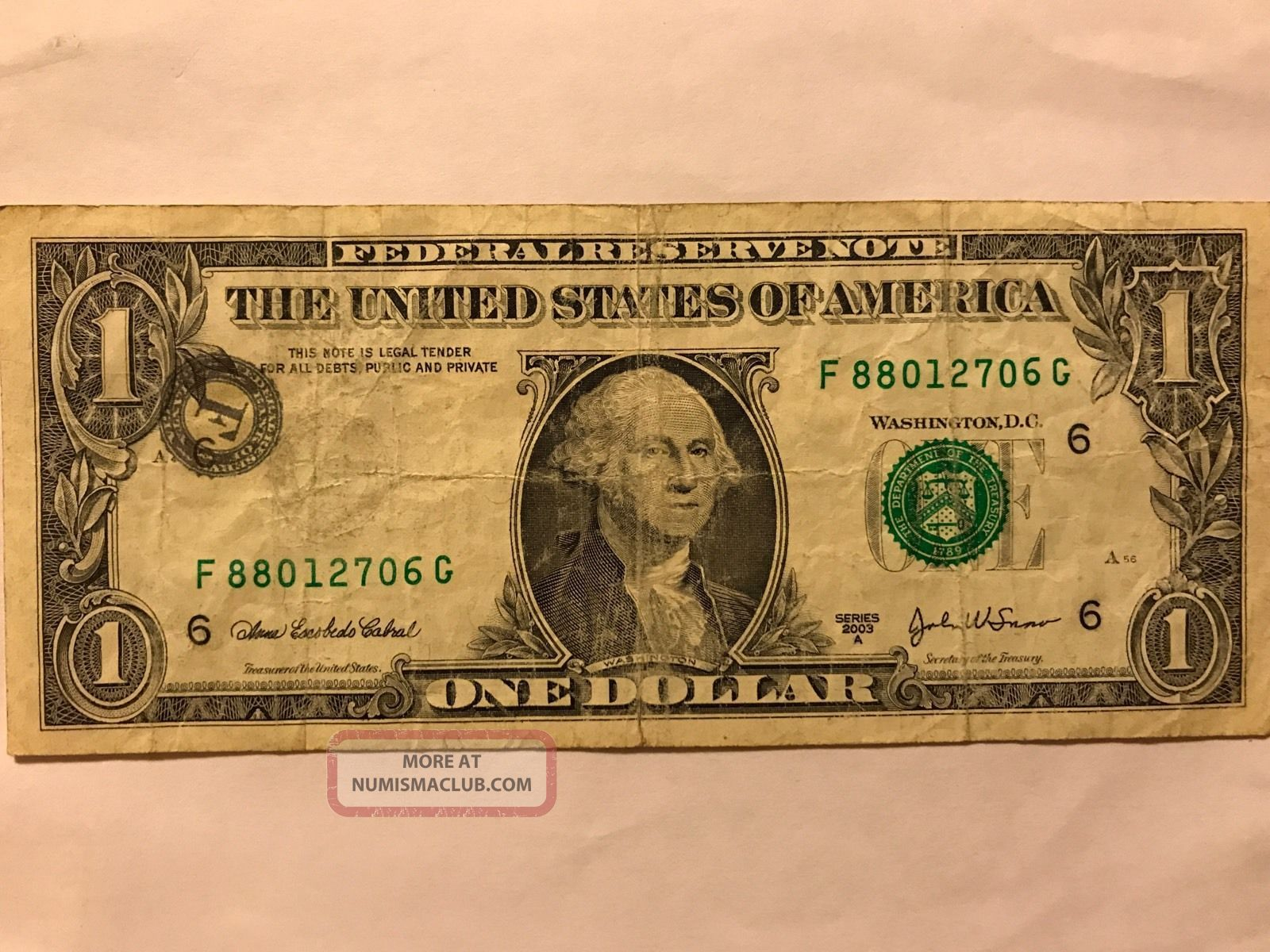 Error One Dollar Bill Shifted Stamp 1 Misprinted 2003