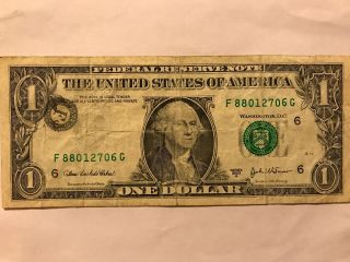 $$$.  Error One Dollar Bill Shifted Stamp $1 Misprinted 2003.  $$$ photo