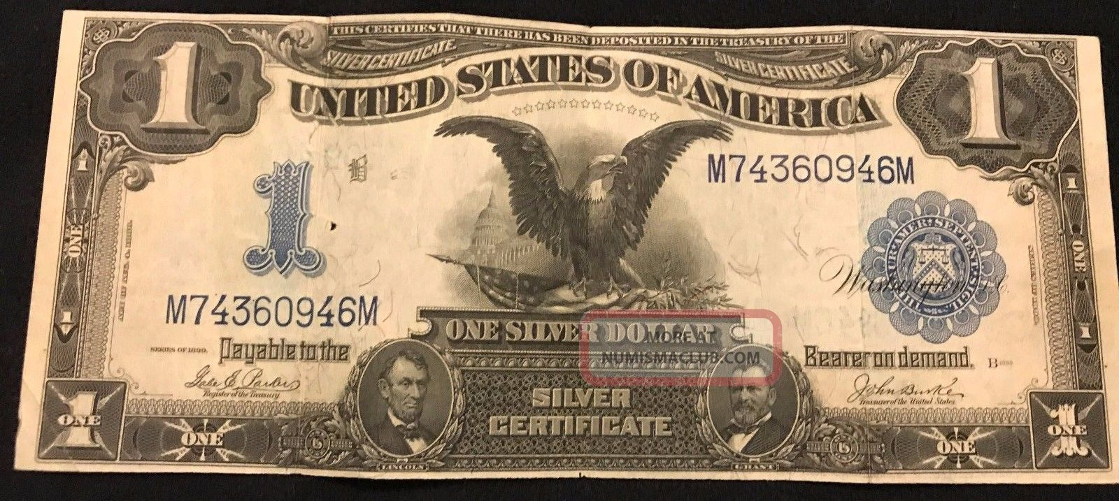 1899 $1 Silver Certificate,  Black Eagle,  Circulated, Large Size Notes photo