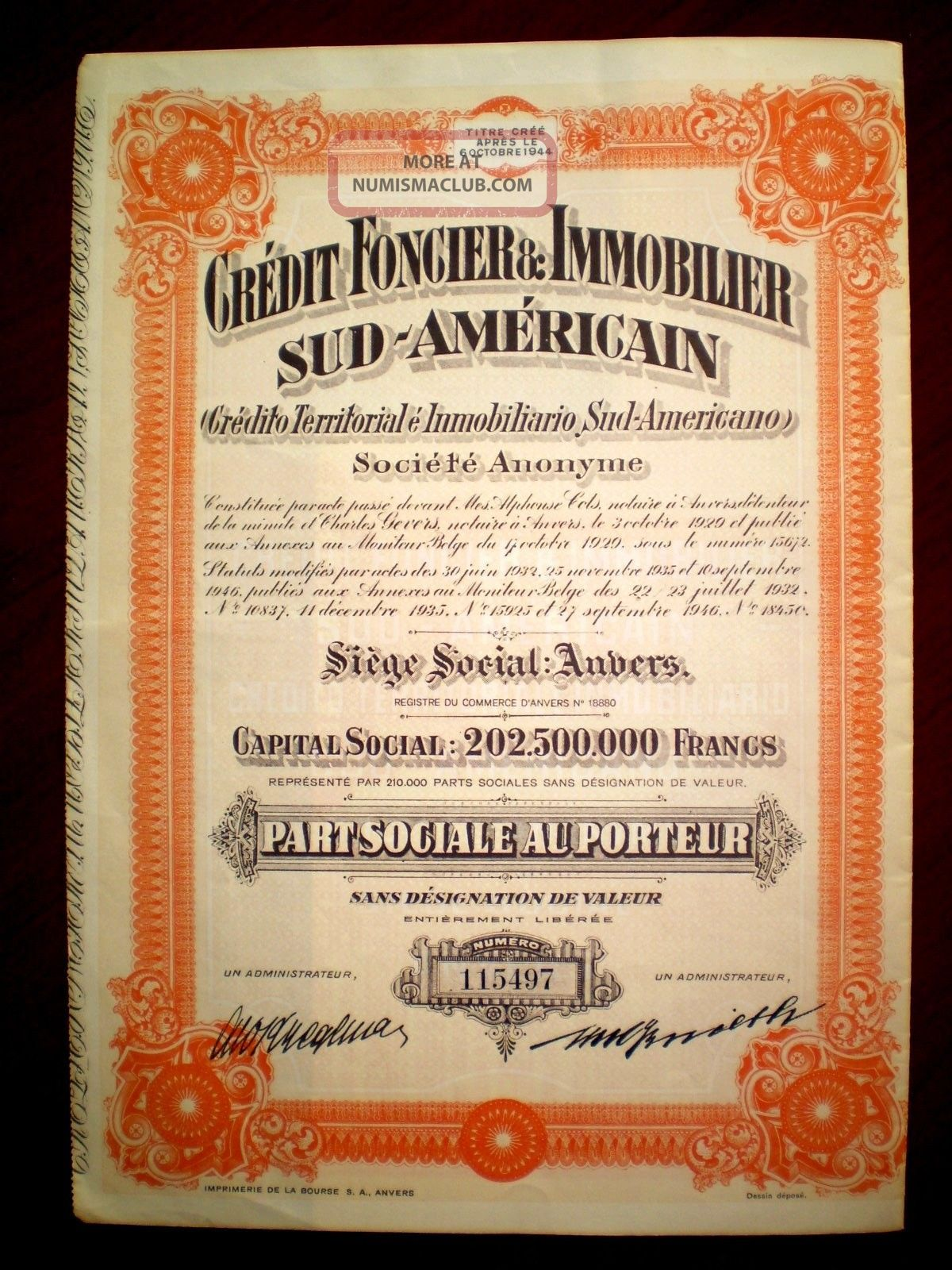 Credit Foncier & Inmobilier Sud - Américain 1946 Argentina Share Certificate World photo