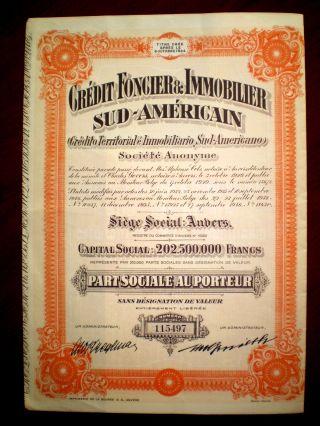 Credit Foncier & Inmobilier Sud - Américain 1946 Argentina Share Certificate photo
