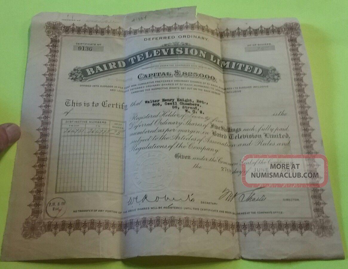Rare June 1932 John Logie Baird 25 Shares Baird Television Stock Certificate Stocks & Bonds, Scripophily photo