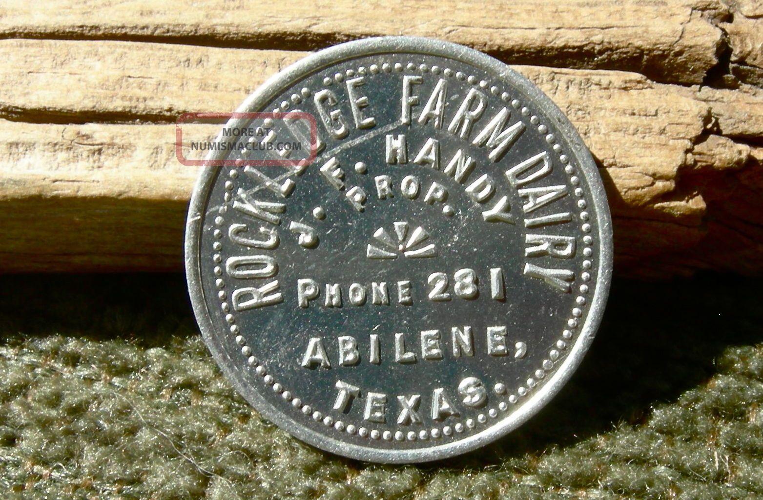 1900s Abilene Texas Tx (taylor & Jones) Rockledge Farm Dairy Jf Handy Prop Token Exonumia photo