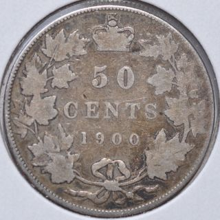 1900 50c Canada Fifty Cents Silver Queen Victoria Coin Circulated photo