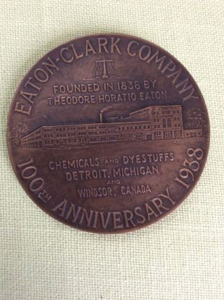 Vintage 1938 Eaton - Clark Chemical Co.  100th Anniversary Bronze Medal,  Gorham photo