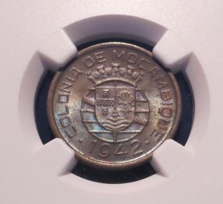 1942 Mozambique 10 Centavos,  Portuguese Issue,  Rare Ms62 Ngc,  Bu Grade Rare photo