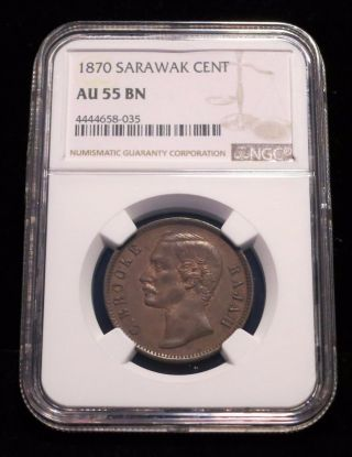 1870 Sarawak Cent,  Au55 Ngc,  Copper With Traces Of Luster,  Malaysia photo