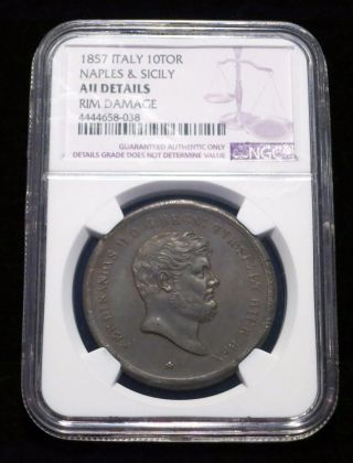 1857 Naples And Sicily,  Italy 10 Tornesi,  Ngc Au Details Large Copper photo