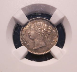 1841 British East India Company 2 Annas,  Ngc Ms 62 Unc,  Better Date photo