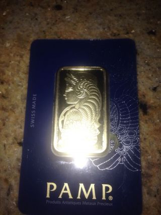 1 Oz Gold Bar - Pamp Suisse Fortuna (w/jumpring) photo