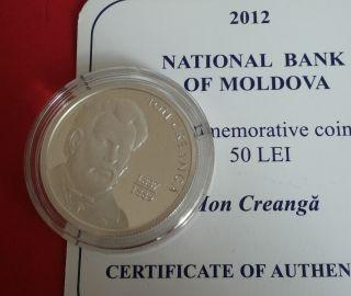 R Moldova 50 Lei Silver 2012 Writer Ion Creanga Bu/proof photo