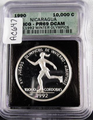 1990 Nicaragua Icg Certified Pr69 Dcam.  999 1oz Silver Coin Green Holder Ac647 photo