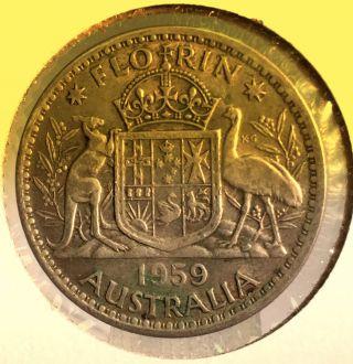 1959 Australia 1 Florin Silver Coin photo