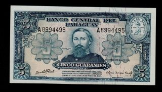 Paraguay 5 Guaranies L.  1952 Rivarola - C.  Acosta Pick 186c Au - Unc. photo