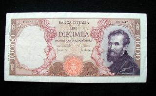 1970 Italy Banknote 10000 Lire Michelangelo Vf, photo