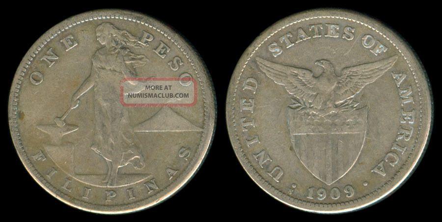 1909 - S Us Philippines 1 Peso Silver Coin 1 U.S. (1898-1946) photo