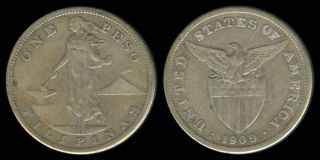 1909 - S Us Philippines 1 Peso Silver Coin 1 photo
