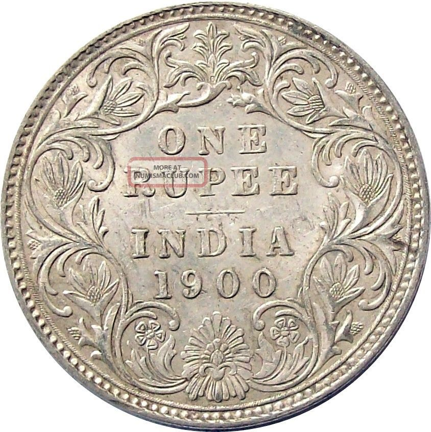 British India 1900 Silver Rupee Coin Victoria Km - 492 Extremely Fine Xf India photo