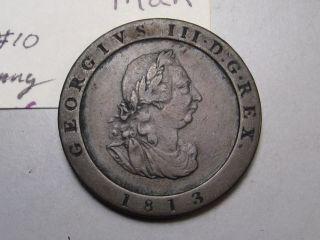 Better Grade - Isle Of Man; 1/2 Penny 1813 George Iii.  Km 10 photo