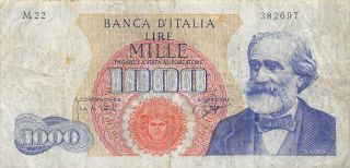 Italy 1000 Lire 14.  1.  1964 P 96b Series M 22 Circulated Banknote 3d photo