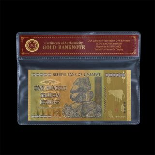 Wr Unique Zimbabwe 100 Trillion Dollars Banknote Colorful Gold Note Collectible photo