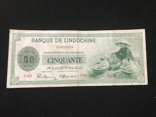 French Indochine 1945 50 Cinquante Piastres [very Fine Condition] photo