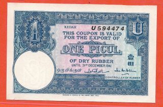 1 Picul Malaysia Kedah Blue Unc Uniface Dry Rubber Export Coupon.  S/n:u594474 photo