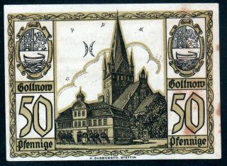 Notgeld 50 Pfennig Gollnow 1921 Germany Vf (1053) photo