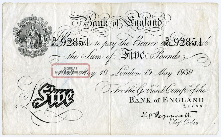 Great Britain 1939 Issue Bank Of England 5 Pounds Rare Note,  Crisp.  Pick 335a. Europe photo
