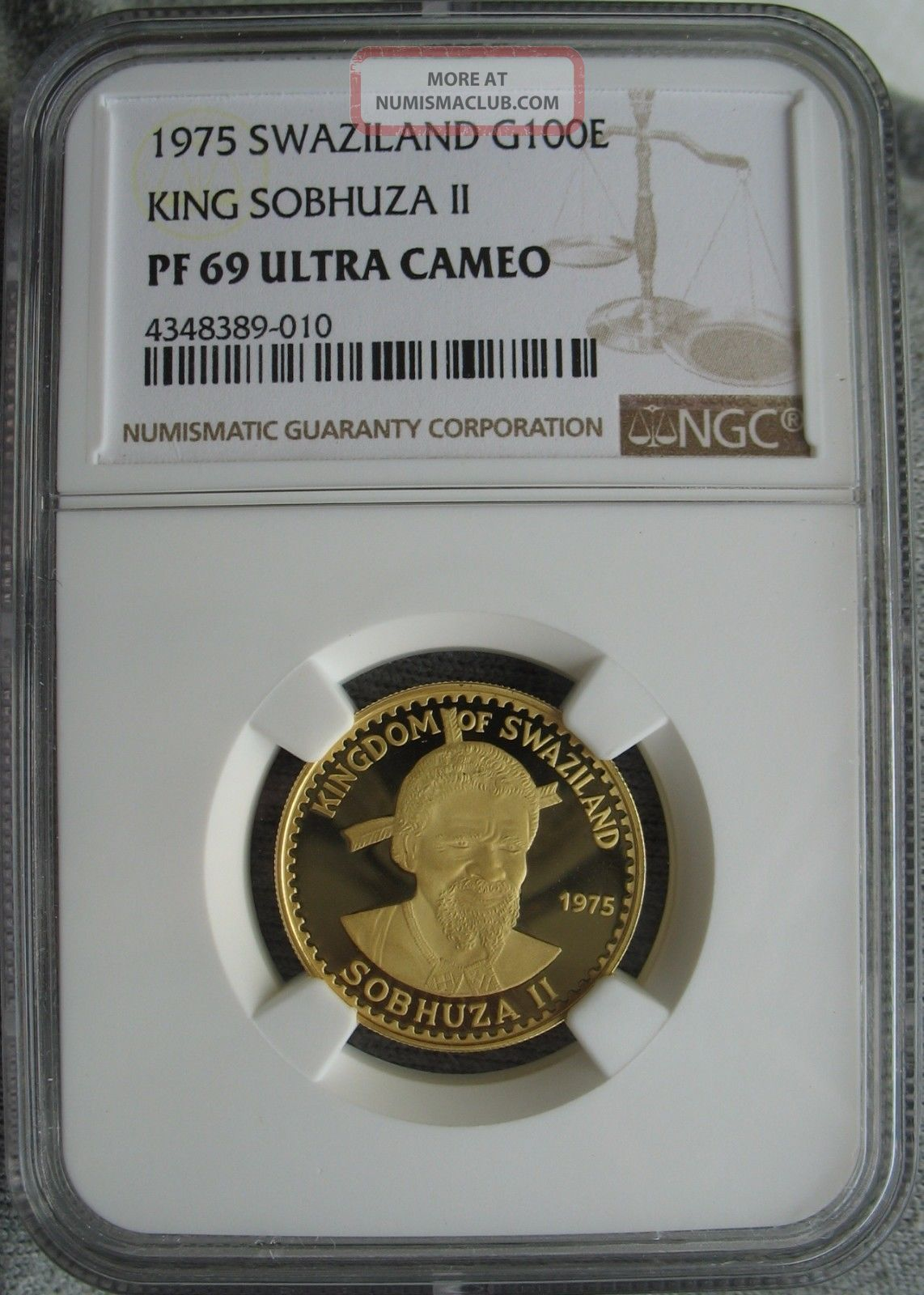 Swaziland 1975 Gold 100 Emalangeni Ngc Pf - 69 Ult.  Cameo King Sobhuza - Ii Coins: World photo