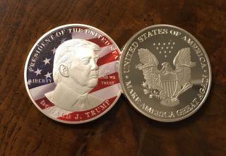 Donald Trump Silver Eagle Coin Make America Great Again 45th President D03 photo