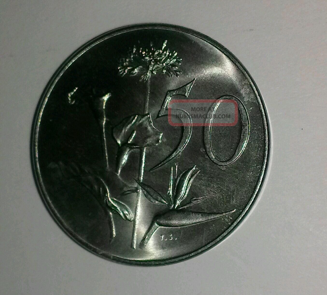 1965 South Africa 50 Cents Nickel Half Dollar Size Coin