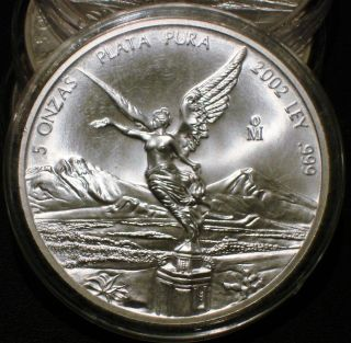 2002 5 Oz Onza Mexico Silver Libertad Bu.  999 Plata Pura Low Mintage Of 5200 photo