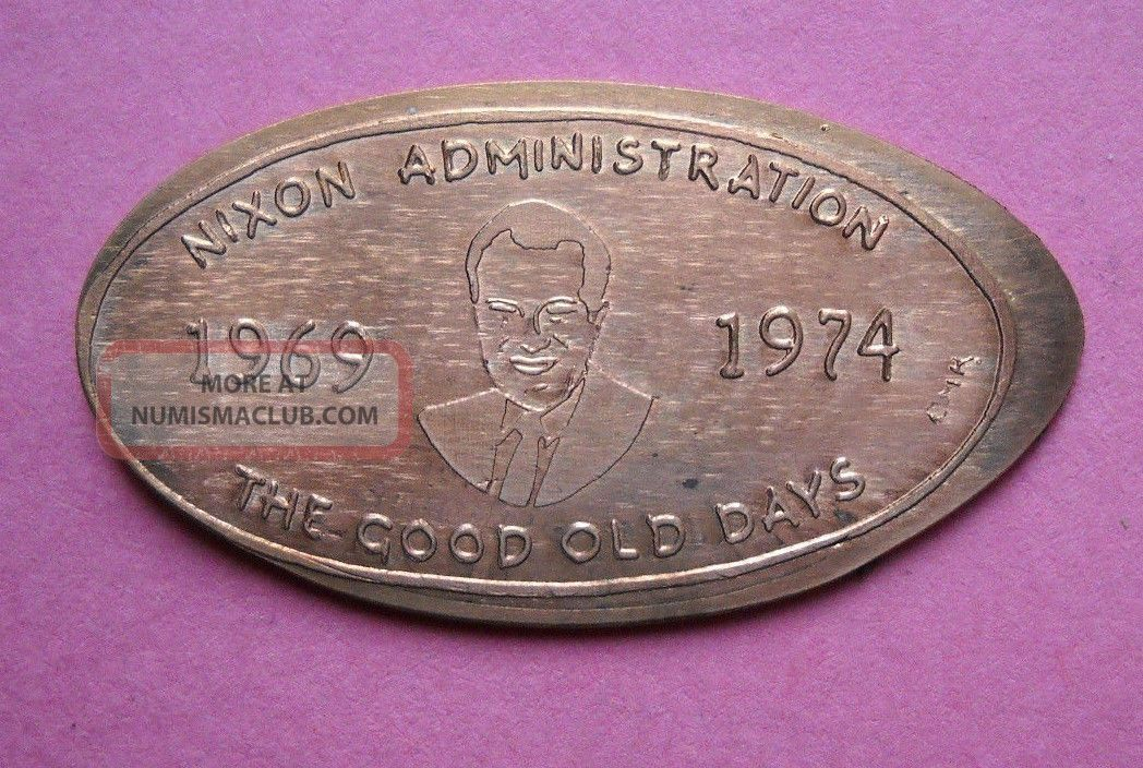 Richard Nixon Administration Elongated Penny Usa Cent 1969 1974 Souvenir Coin Exonumia photo