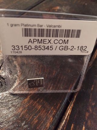 1 Gram Platinum Bar - Valcambi photo