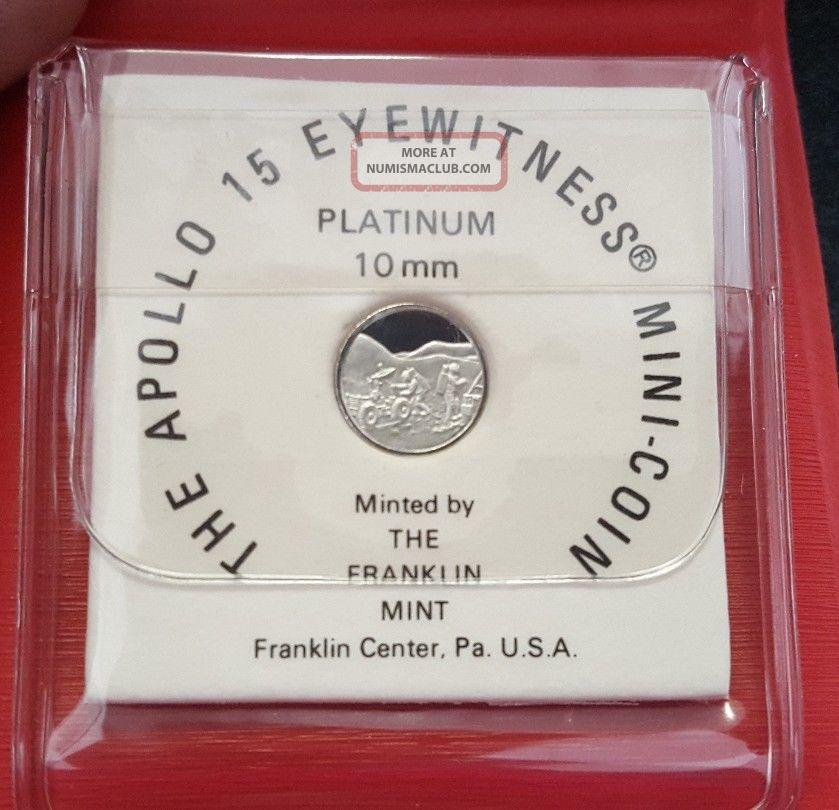 Apollo 15 Eyewitness 1.  2 Gram Platinum Mini Coin Franklin 1971 Platinum photo