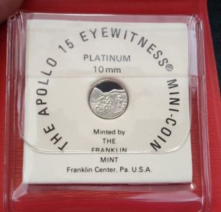 Apollo 15 Eyewitness 1.  2 Gram Platinum Mini Coin Franklin 1971 photo