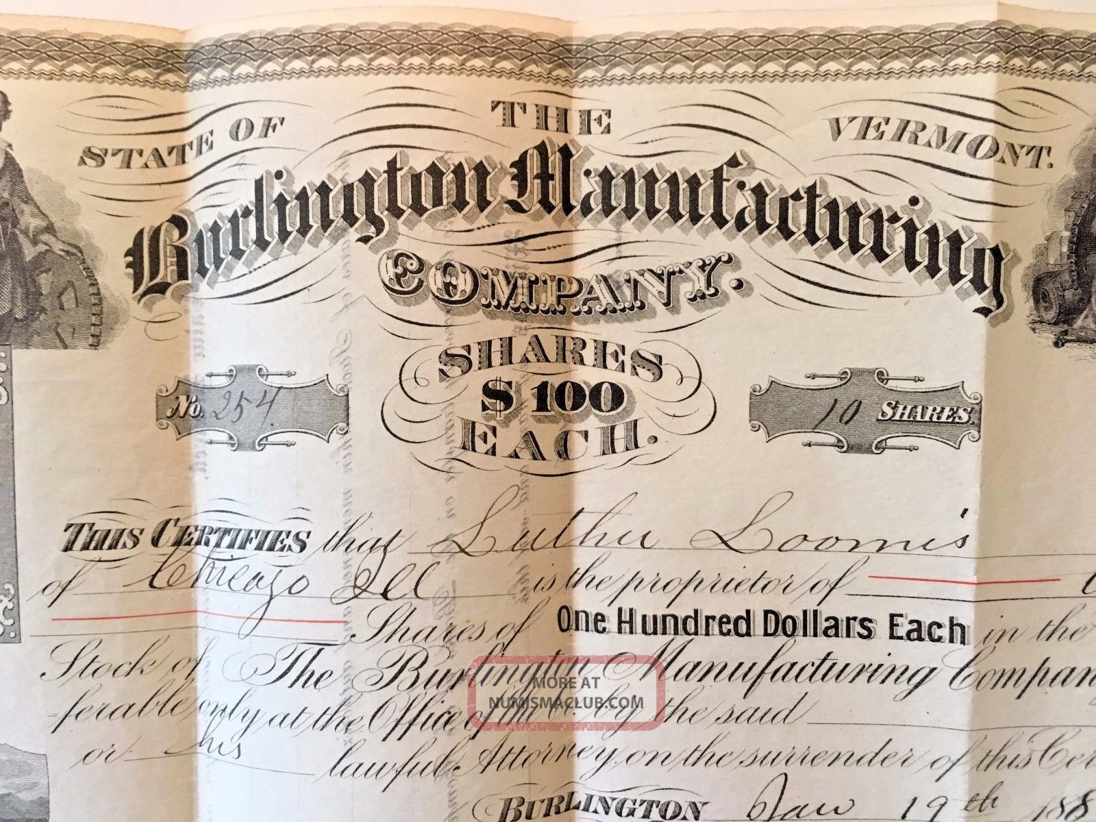 Burlington Vt 1887 Capital Stock Certificate Luther Loomis Burlington Mfg.  Co. Stocks & Bonds, Scripophily photo