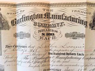 Burlington Vt 1887 Capital Stock Certificate Luther Loomis Burlington Mfg.  Co. photo