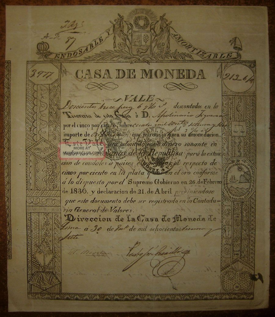 Peru - Rare Treasury Scrip Issued By Lima - 1837 World photo