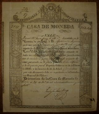 Peru - Rare Treasury Scrip Issued By Lima - 1837 photo