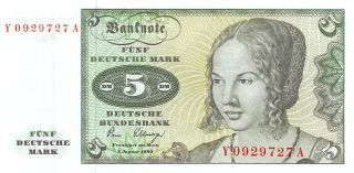 Germany 5 Deutsche Mark 2.  1.  1980 Series Y - A Uncirculated Banknote E517jq photo