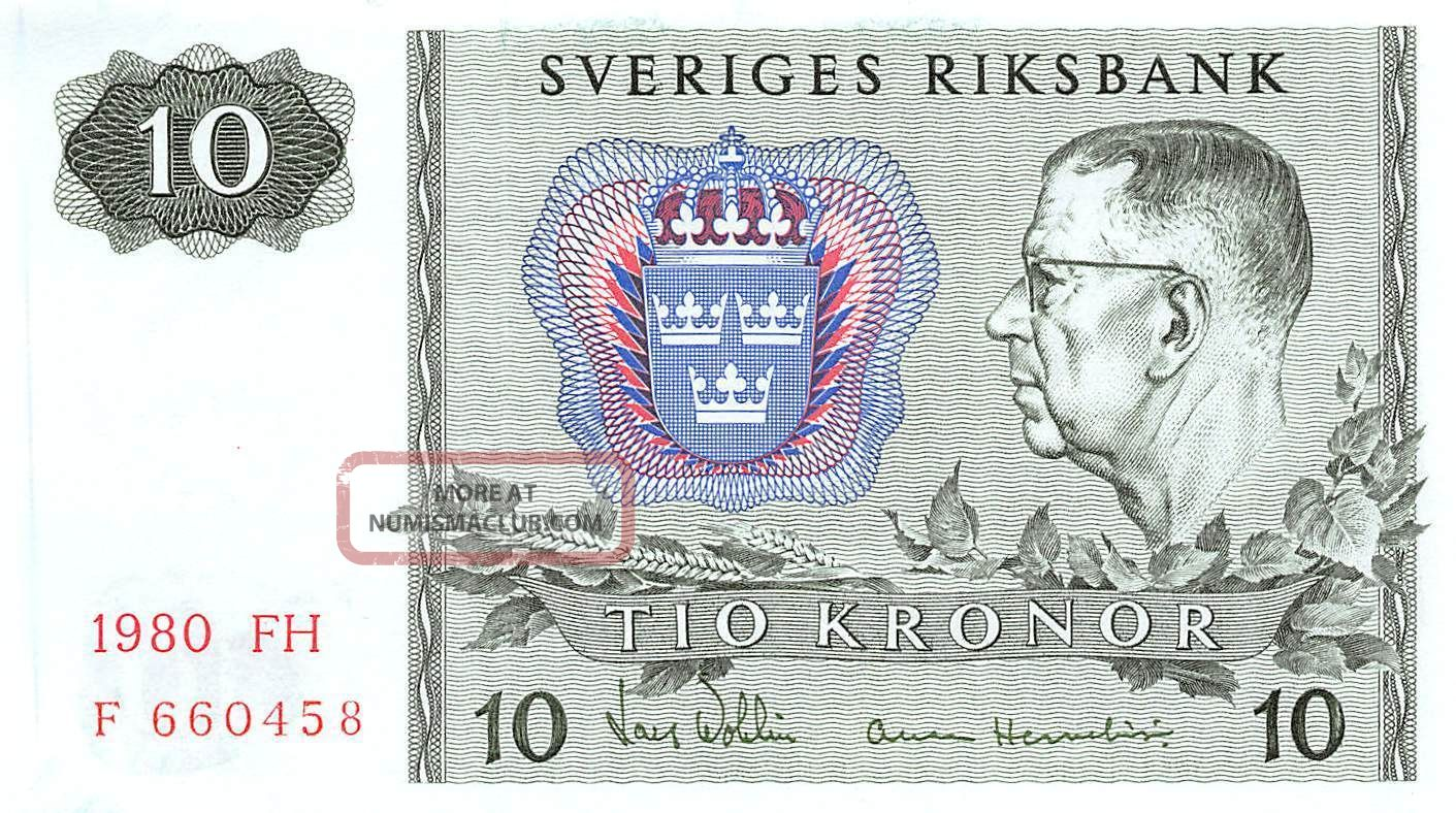 Sweden 10 Kronor 1980 Series Fh Prefix F Uncirculated Banknote E517jq Europe photo