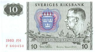 Sweden 10 Kronor 1980 Series Fh Prefix F Uncirculated Banknote E517jq photo