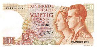 Belgium 50 Francs 16.  05.  1966 Series L Uncirculated Banknote E517jq photo