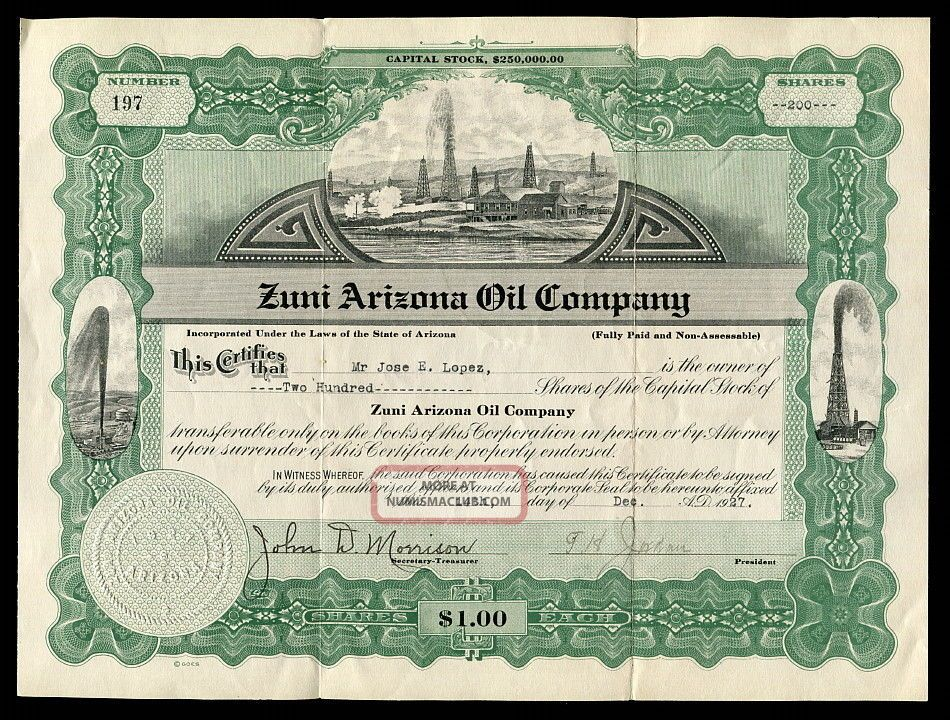 Antique 1920s Zuni Arizona Oil Company Capital Stock Certificate 200 Shares 1927 Stocks & Bonds, Scripophily photo