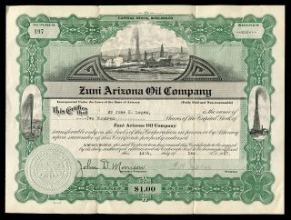 Antique 1920s Zuni Arizona Oil Company Capital Stock Certificate 200 Shares 1927 photo